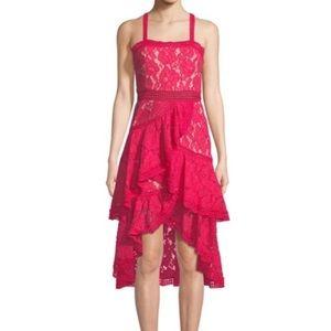 Alice+Olivia Fuchsia Ruffled Crochet Dress Size 0